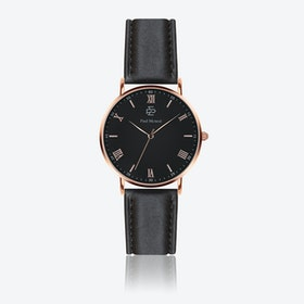 Smooth Black Leather Watch w/ Matte Black Face - Ø 40 mm