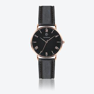 Smooth Black Leather Watch w/ Matte Black Face - Ø 40 mm