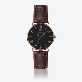 Croco Brown Leather Watch w/ Matte Black Face - Ø 40 mm