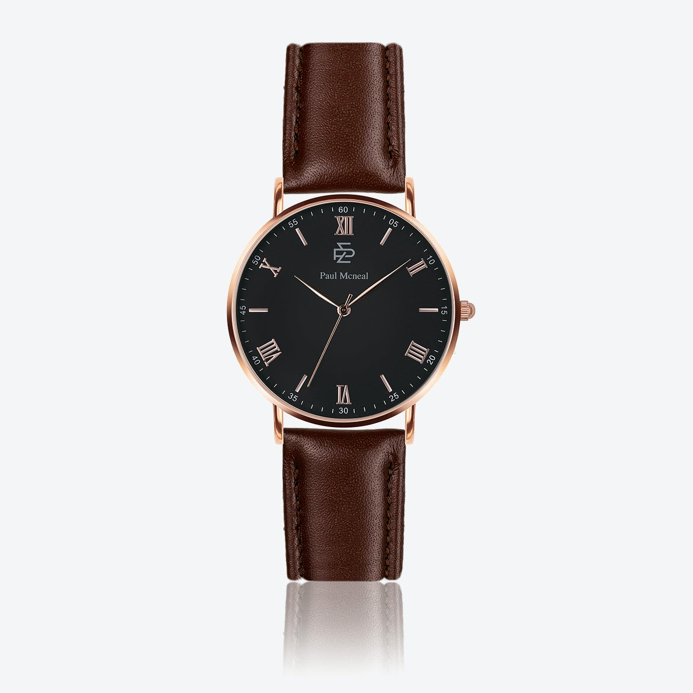 Smooth Brown Leather Watch w/ Matte Black Face - Ø 40 mm