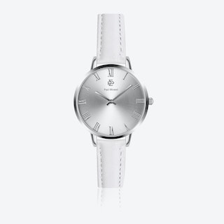 White Leather Watch w/ Silver Sunray Face - Ø 38 mm