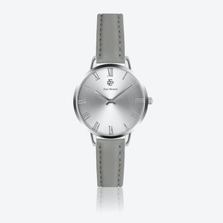 Grey Leather Watch w/ Silver Sunray Face - Ø 38 mm