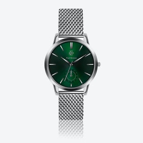 Silver Mesh Wash w/ Green Sunray Face - Ø 42 mm