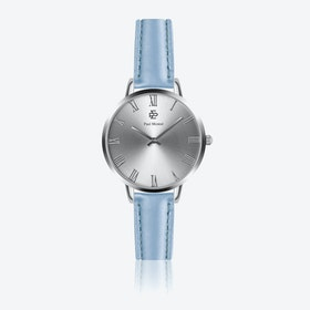 Light Blue Leather Watch w/ Silver Sunray Face - Ø 38 mm