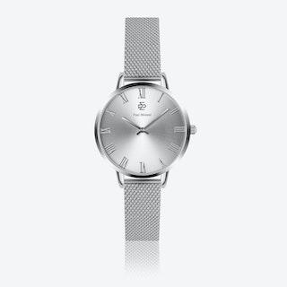 Silver Mesh Watch w/ Silver Sunray Face - Ø 38 mm