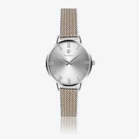Silver & Rose Gold Mesh Watch w/ Silver Sunray Face - Ø 38 mm