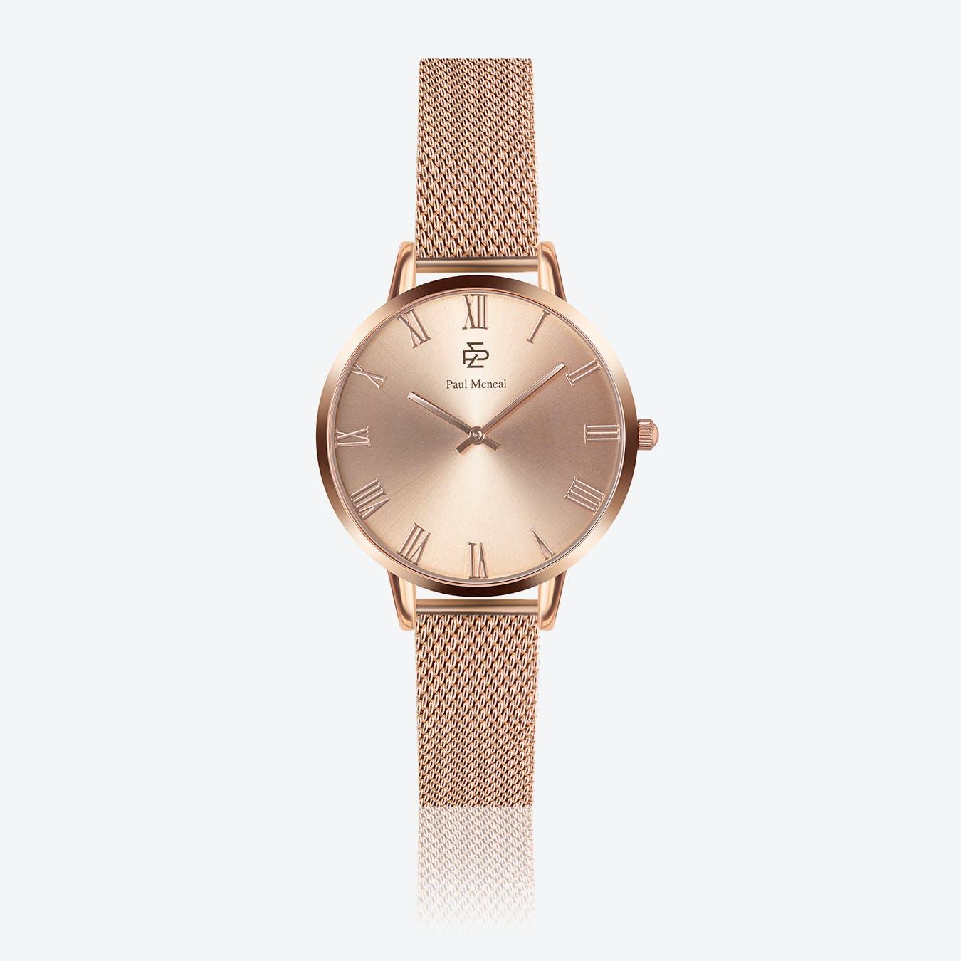 Rose Gold Mesh Watch w/ Rose Gold Sunray Face - Ø 38 mm