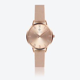 Rose Gold Mesh Watch w/ Rose Gold Sunray Face - Ø 38 mm