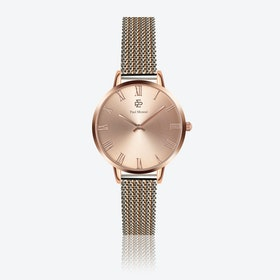 Silver & Rose Gold Mesh Watch w/ Rose Gold Sunray Face - Ø 38 mm