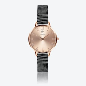 Black Leather Watch w/ Rose Gold Sunray Face - Ø 38 mm