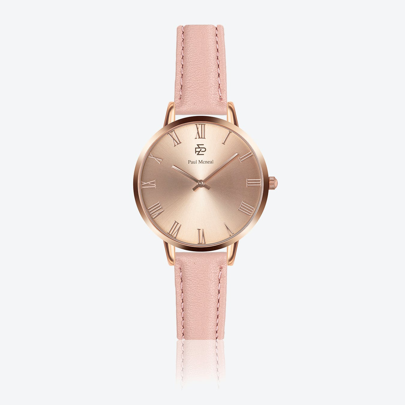 Pink Leather Watch w/ Rose Gold Sunray Face - Ø 38 mm