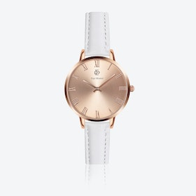 White Leather Watch w/ Rose Gold Sunray Face - Ø 38 mm