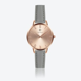 Grey Leather Watch w/ Rose Gold Sunray Face - Ø 38 mm