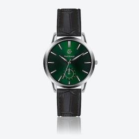 Croco Black Leather Watch w/ Green Sunray Face - Ø 42 mm