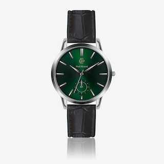 Croco Black Leather Watch w/ Green Sunray Face - Ø 42 mm