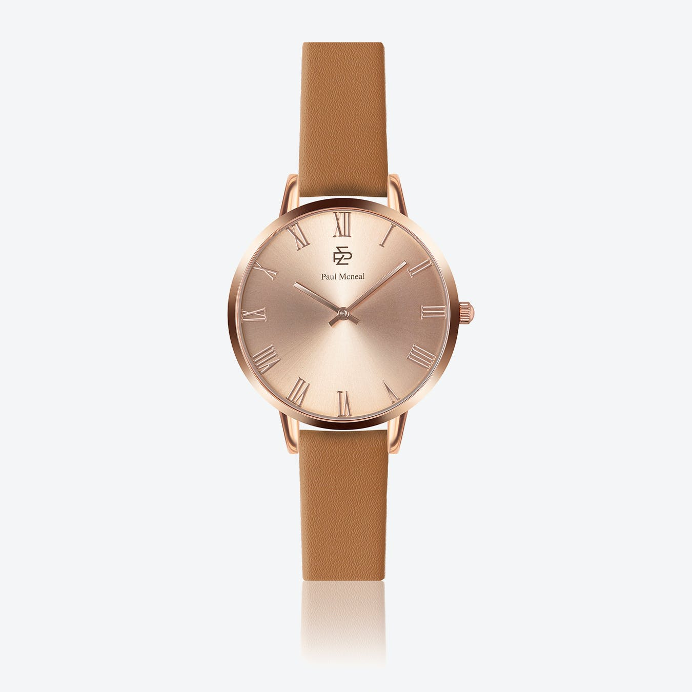 Camel Leather Watch w/ Rose Gold Sunray Face - Ø 38 mm