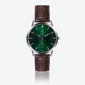 Croco Brown Leather Watch w/ Green Sunray Face - Ø 42 mm