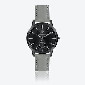 Grey Leather Watch w/ Matte Black Face - Ø 42 mm
