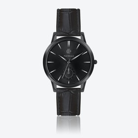 Croco Black Leather Watch w/ Matte Black Face - Ø 42 mm