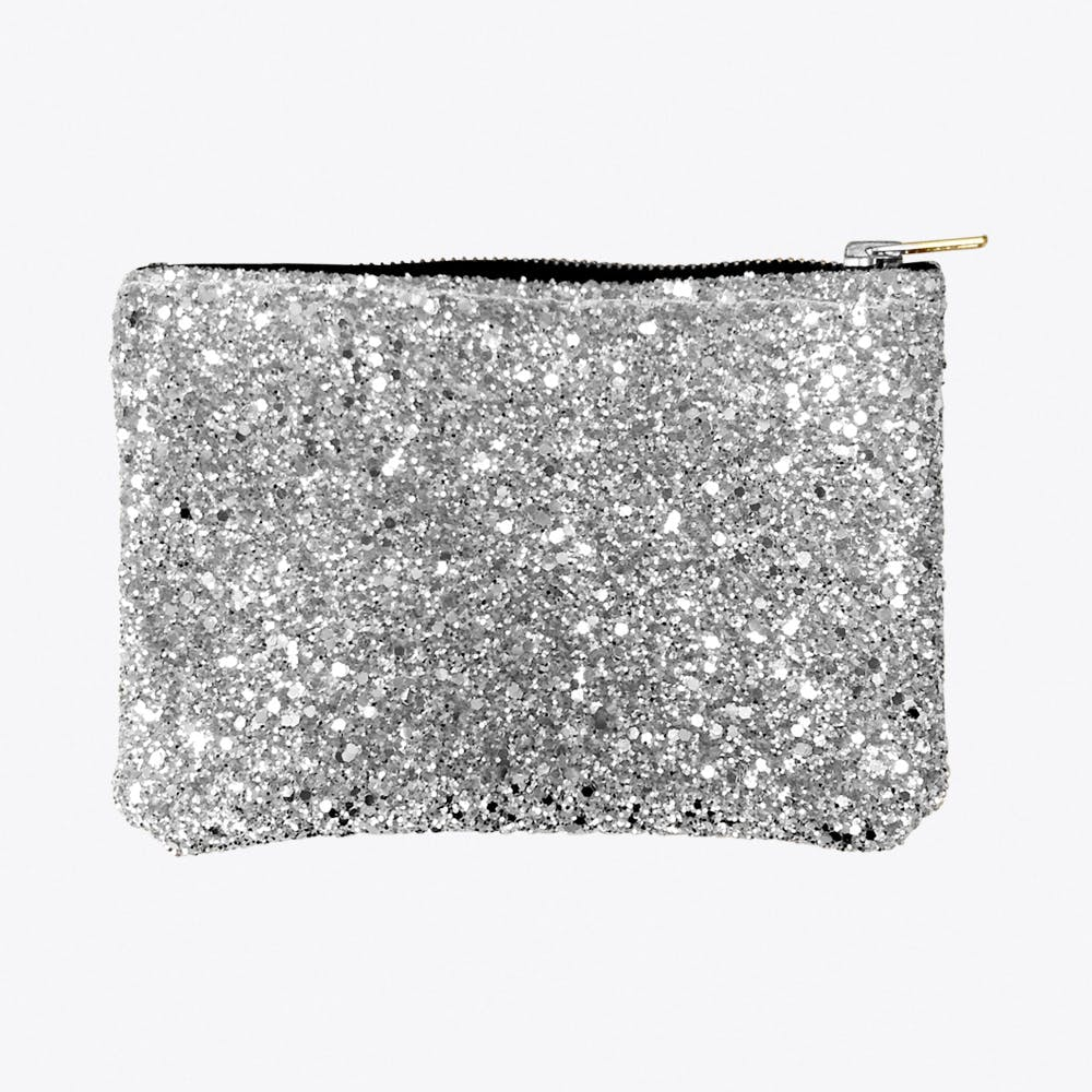 Glitter Zip Pouch Silver Large