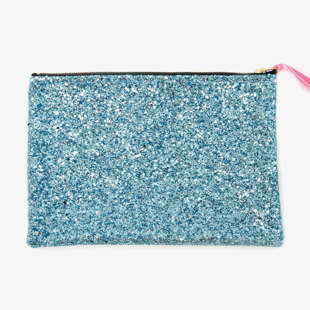 Glitter Zip Pouch Mermaid Turquoise Large