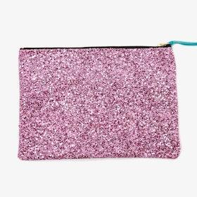 Glitter Zip Pouch Bubblegum Pink Large