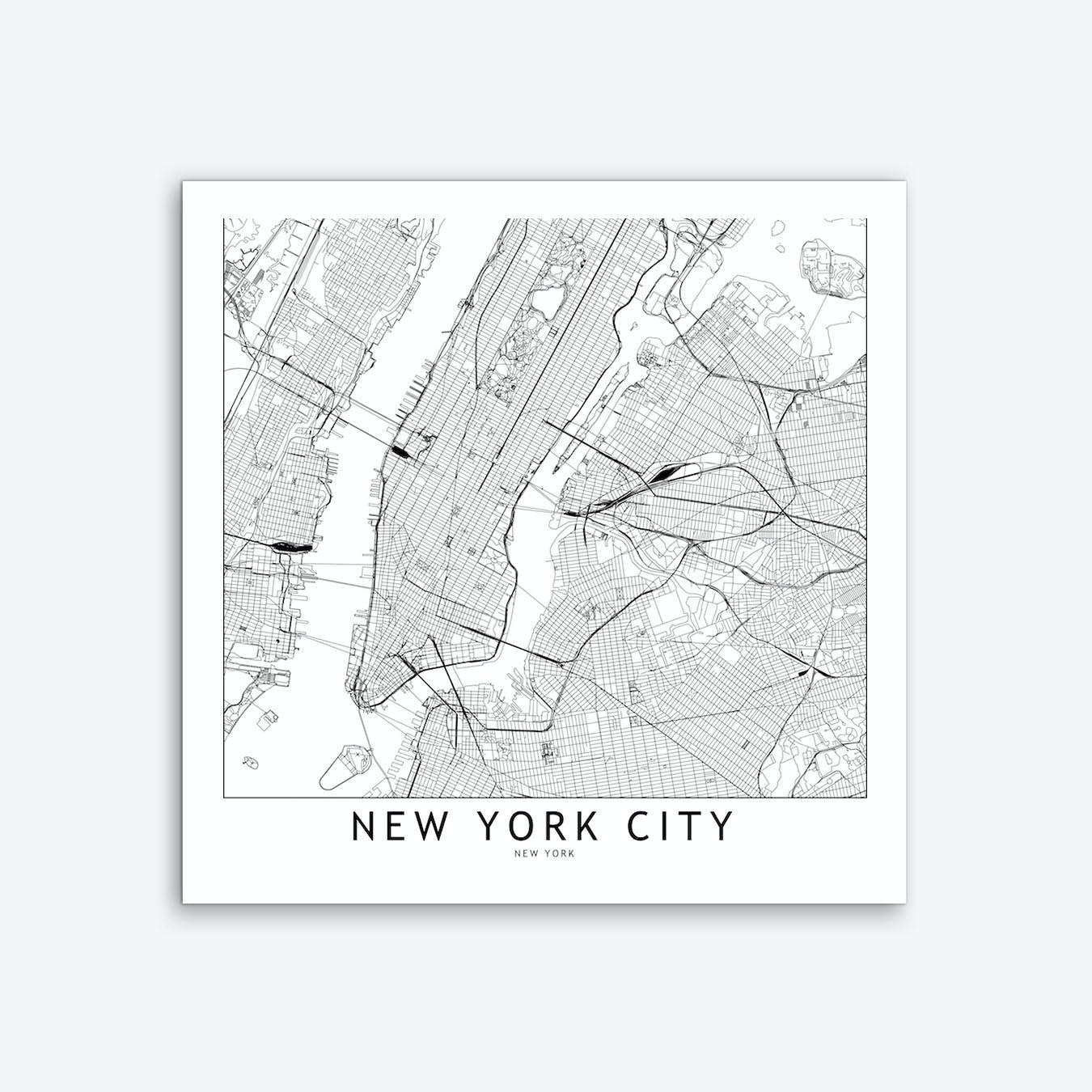 New York Map Art Print I