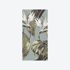 Bird of Paradise (Tropical Leaf) Wallpaper - Duck Egg
