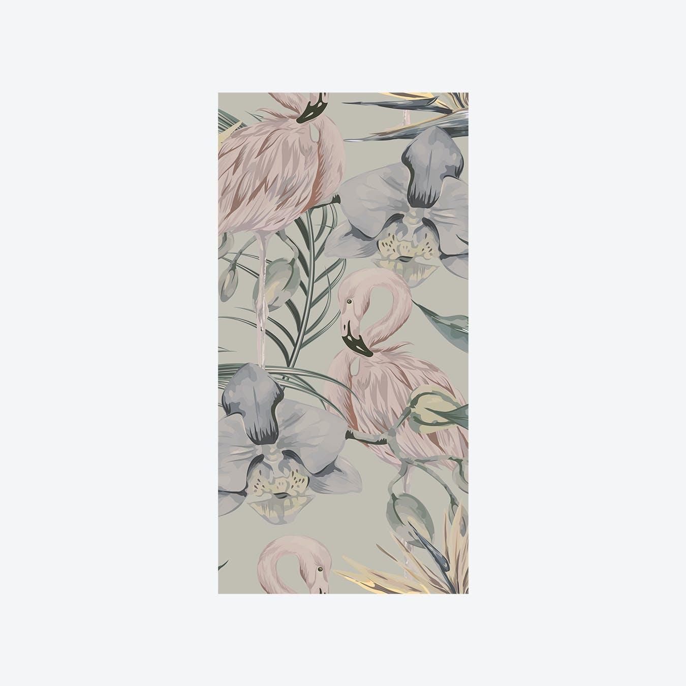 Tropical Shore (Tropical Flamingo) Wallpaper - Pastel