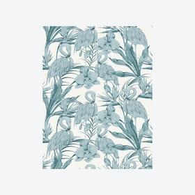 Tropical Shore (Tropical Flamingo) Wallpaper - Blue