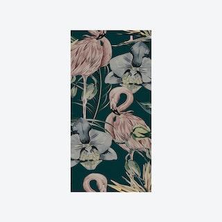 Tropical Shore (Tropical Flamingo) Wallpaper - Green