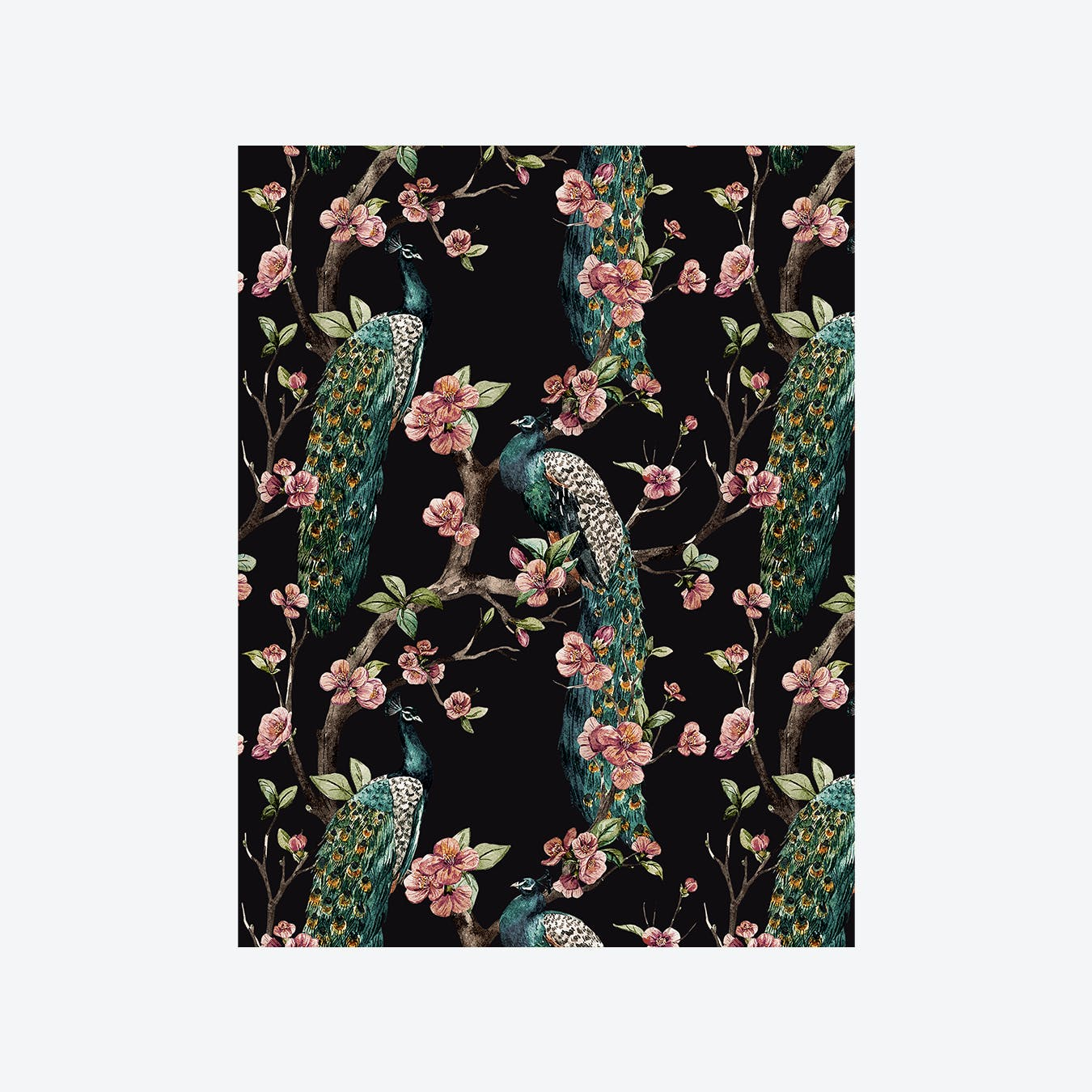 Enchanted Garden (Jungle Bird I) Wallpaper - Emerald Green