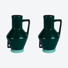 Small Dark Green Vase (set of 2)