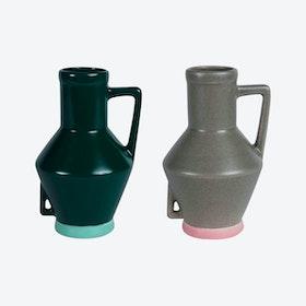 Small Dark Green Vase & Small Beige Vase (set of 2)