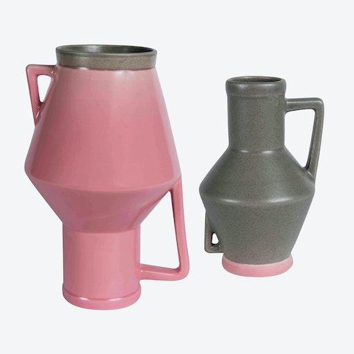 Medium Pink Vase & Small Beige Vase (set of 2)
