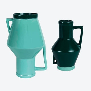 Medium Green Vase & Small Dark Green Vase (set of 2)