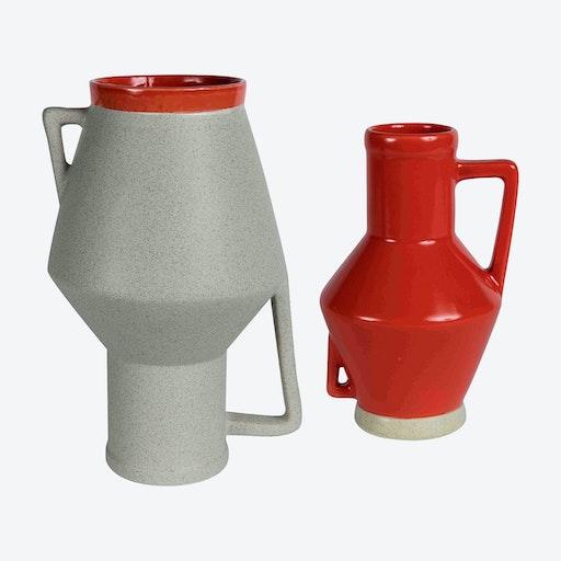 Medium Beige Vase & Small Red Vase (set of 2)