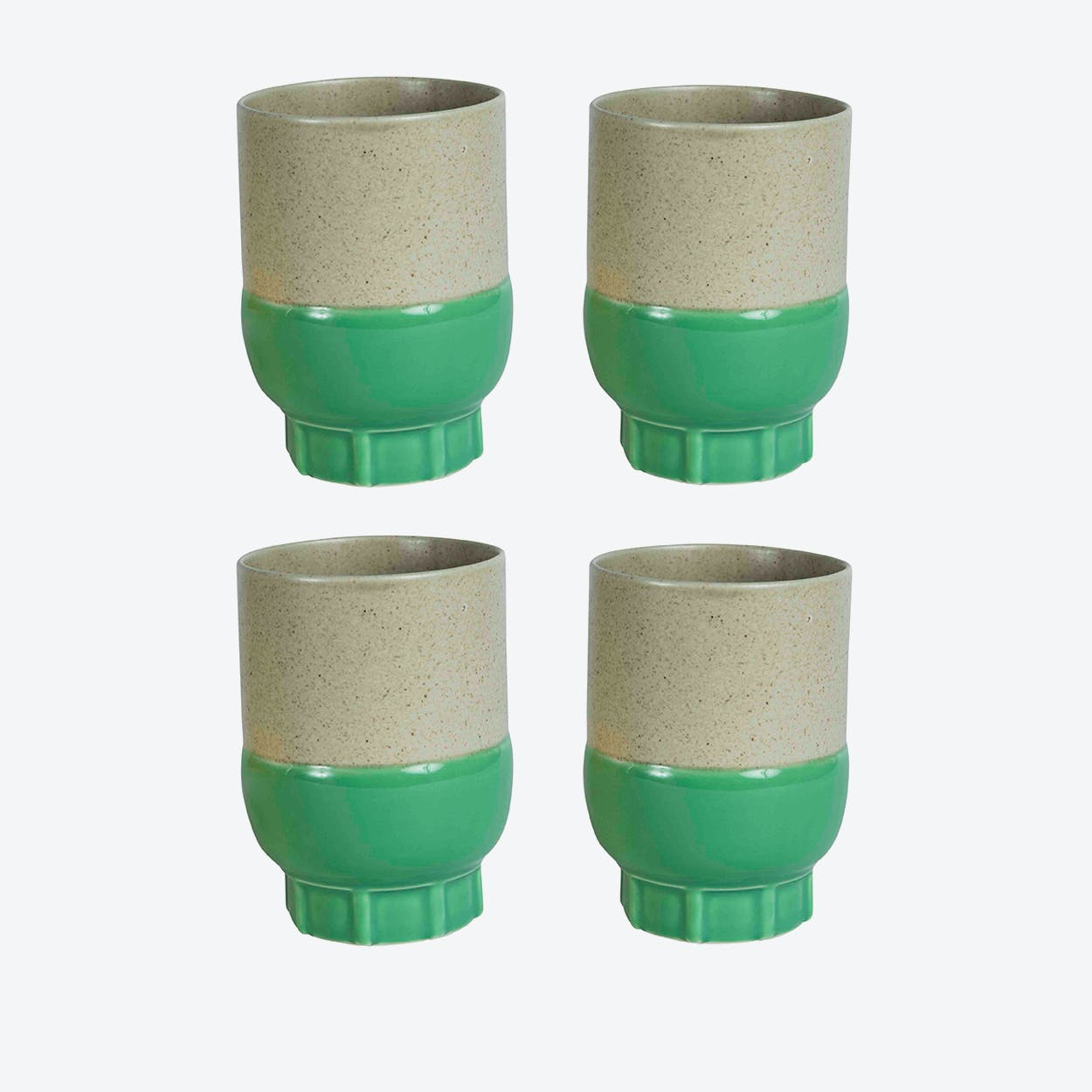 Two Colour Cups - Green (set of 4 pcs)