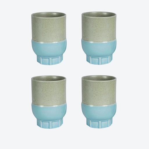Two Colour Cups - Light Blue (set of 4 pcs)
