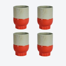 Two Colour Cups - Red (set of 4 pcs)
