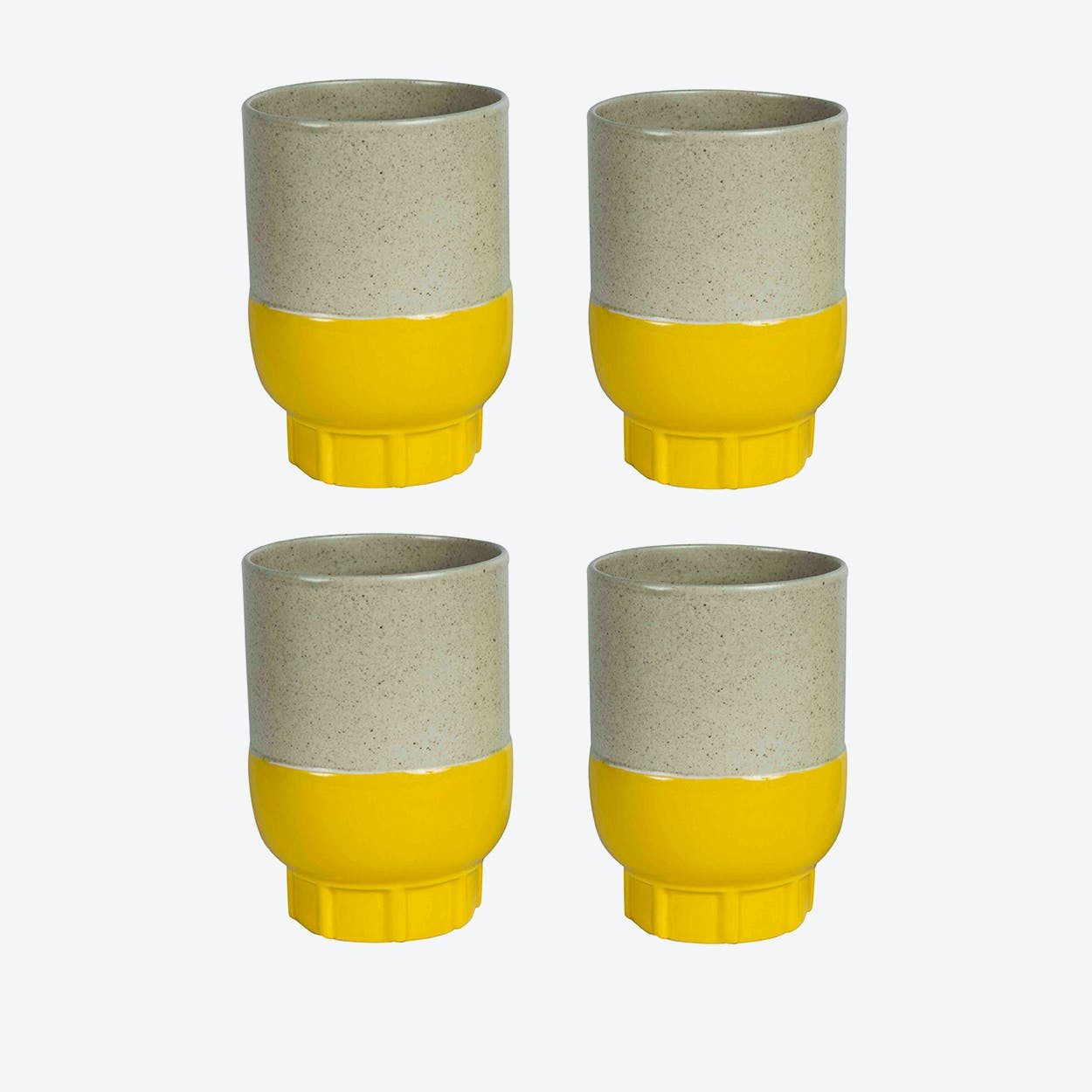 Two Colour Cups - Yellow (set of 4 pcs)