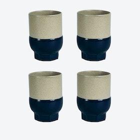Two Colour Cups - Dark Blue (set of 4 pcs)
