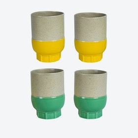 Two Colour Cups - Green & Yellow (set of 4 pcs)
