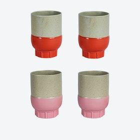 Two Colour Cups - Pink & Red (set of 4 pcs)