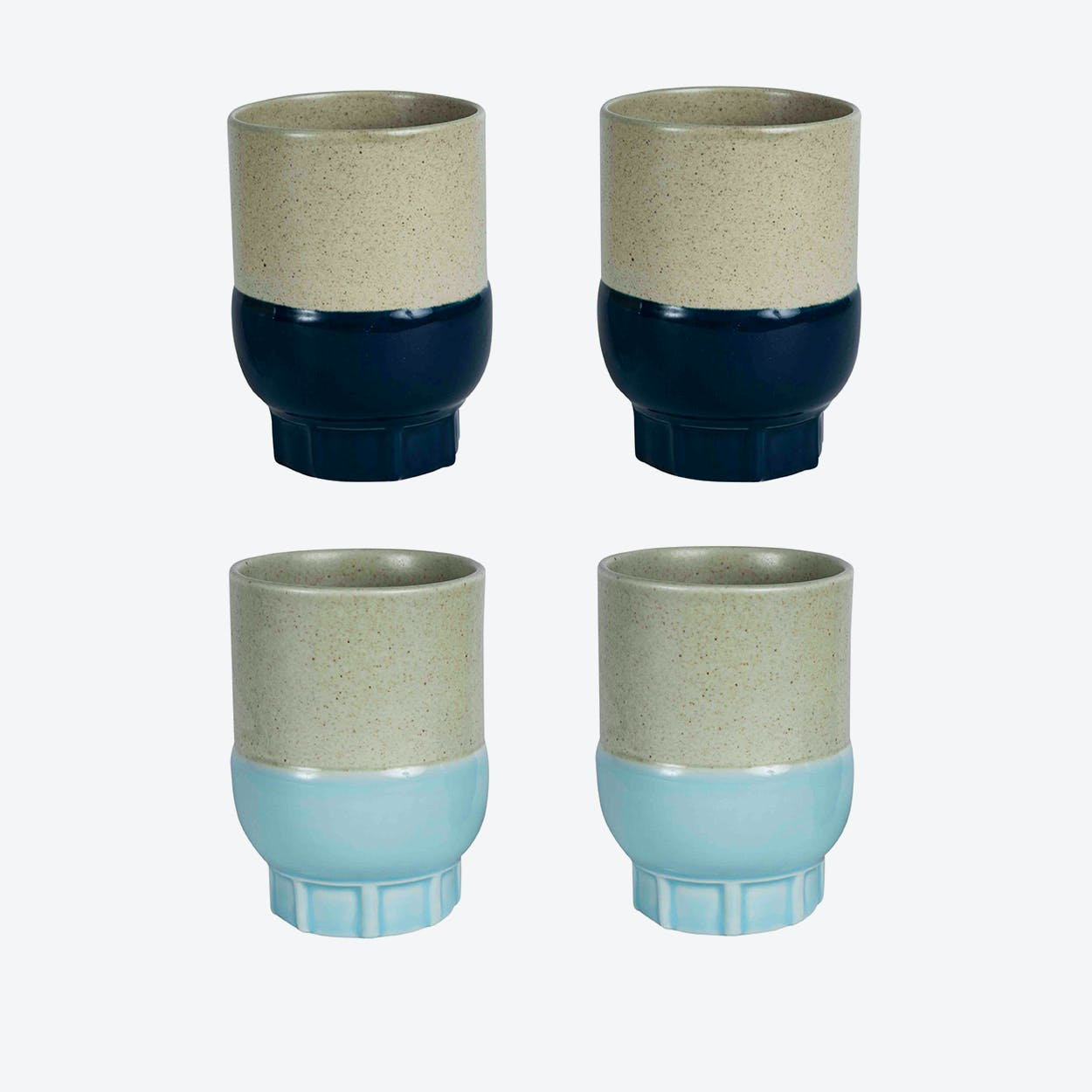 Two Colour Cups - Light Blue & Dark Blue (set of 4 pcs)
