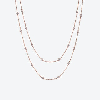 Rose Gold Multi Solitaire Necklace
