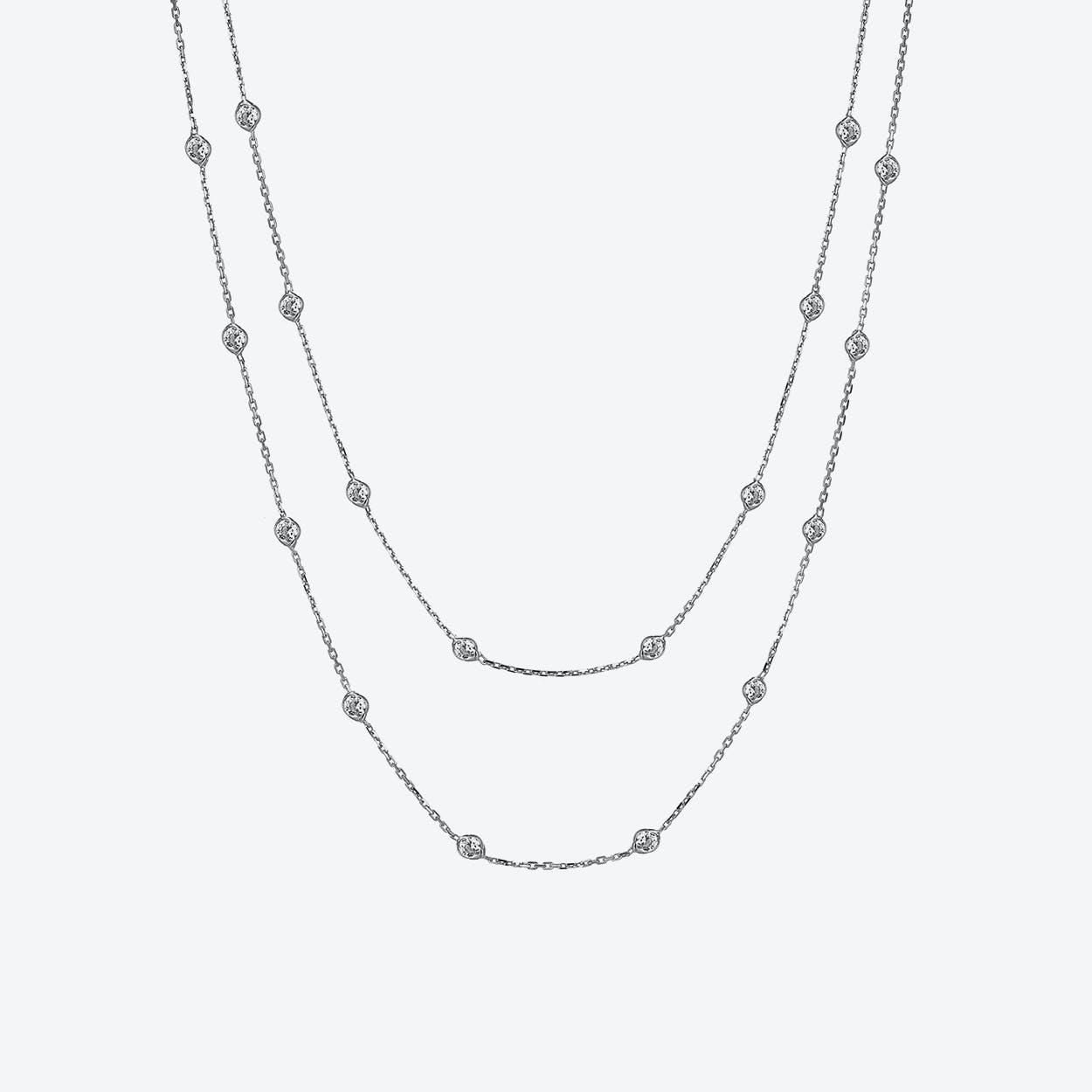 Silver Multi Solitaire Necklace