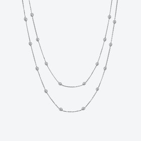 Silver Multi Solitaire Necklace