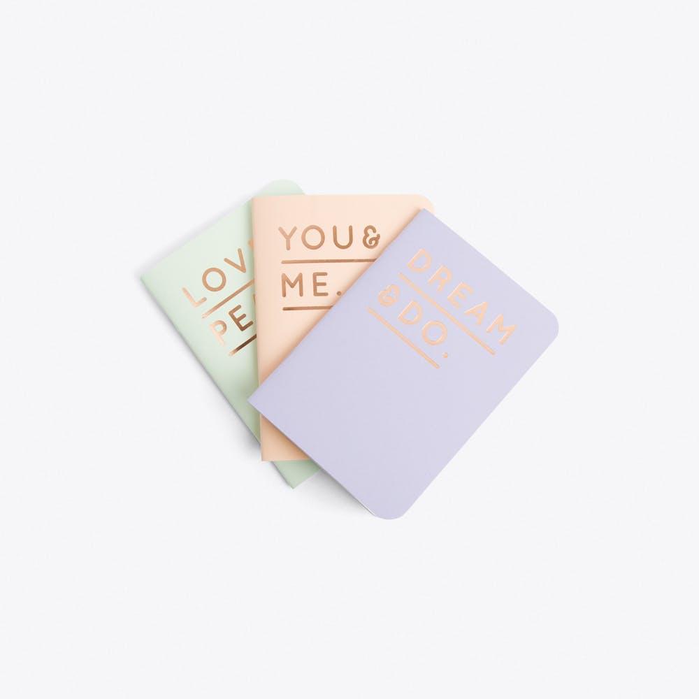 Set of 3 Embossed Notebooks