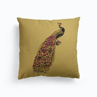 Yellow Peacock Canvas Cushion
